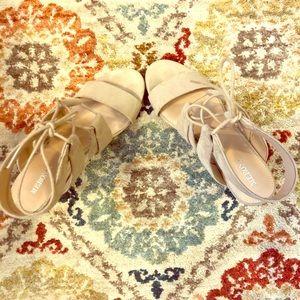 Tan lace-up block heel sandals